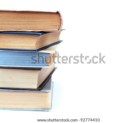 Book pile on the white background