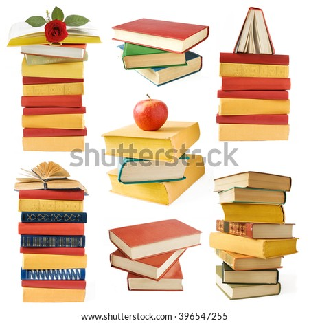 Book pile set isolated on white background - stock photo