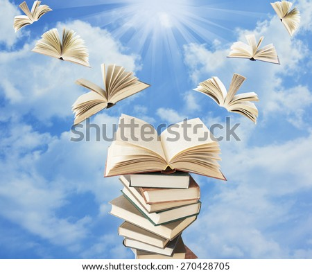 Book pile with open books flying away. Education concept - stock photo