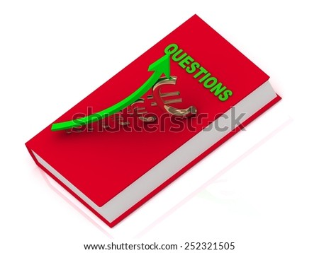 BOOK QUESTIONS and graph from golden columns and yellow arrow on white background - stock photo