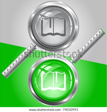 Book. Raster magnifying glass. Vector version is in my portfolio. - stock photo