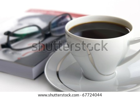 Book reading during coffee break - stock photo