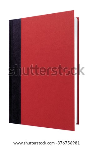 Book red black hard cover front view vertical isolated on white