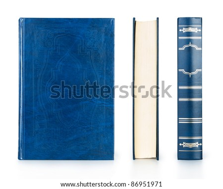 book set blue color isolated on white - stock photo