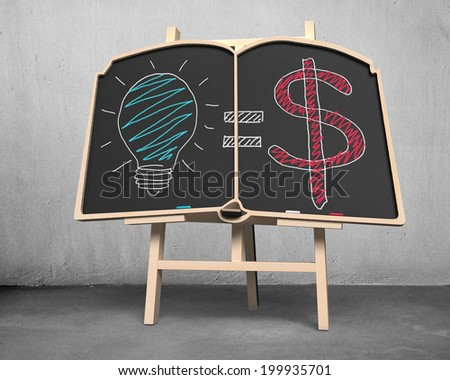 book shape blackboard on easel with doodles concrete background - stock photo