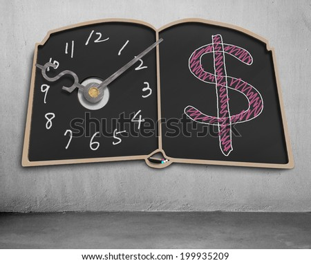Book shape blackboard with clock hands and money symbol drawing on wall - stock photo