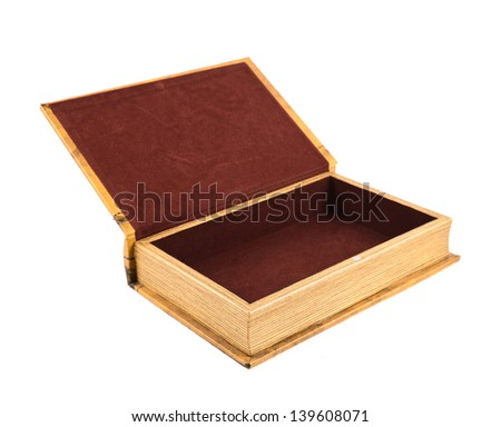 Book shaped secret casket or jewelry box isolated over white background - stock photo
