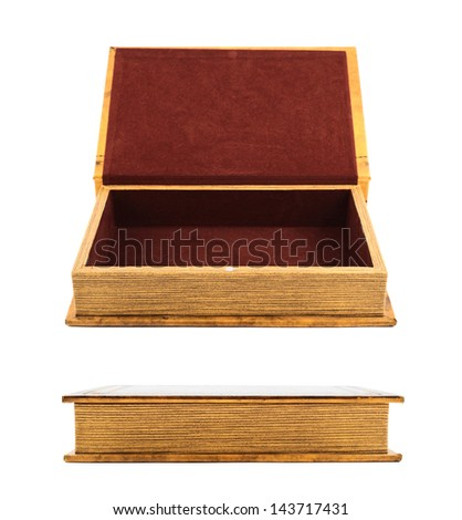Book shaped secret casket or jewelry box isolated over white background, side view, two foreshortenings - stock photo