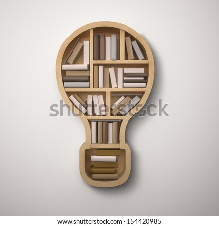 book shelf in form of lamp  on gray backgrounds - stock photo