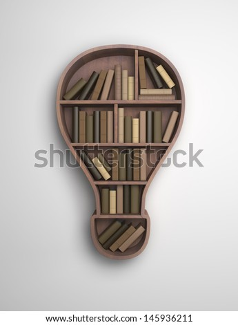 book shelf in the form of lamp - stock photo