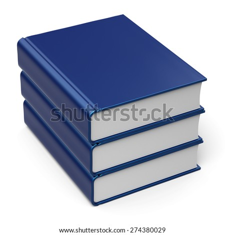 Book stack blank cover blue 3 three. School learning information knowledge archive content icon concept. 3d render isolated on white background - stock photo