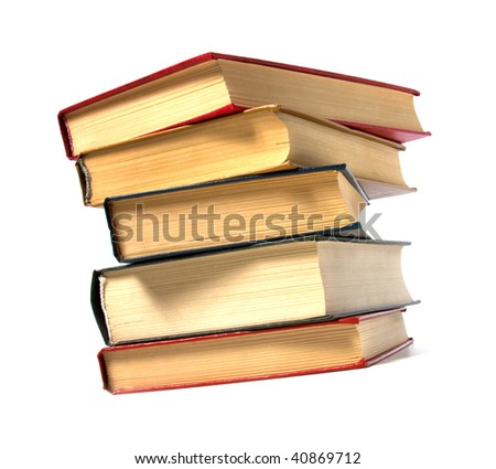 book stack isolated on the white