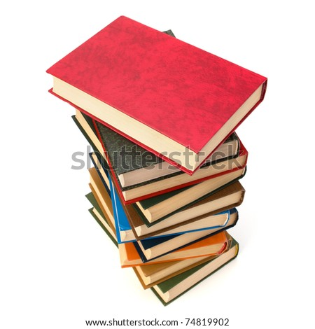 book stack isolated on  white background - stock photo
