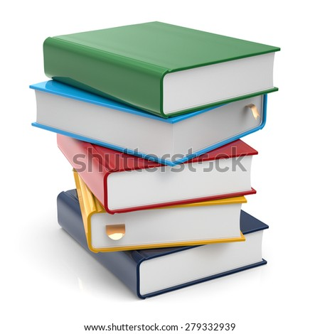 Book stack of books covers blank colorful textbooks bookmark. School studying information content learn icon concept. 3d render isolated on white background - stock photo