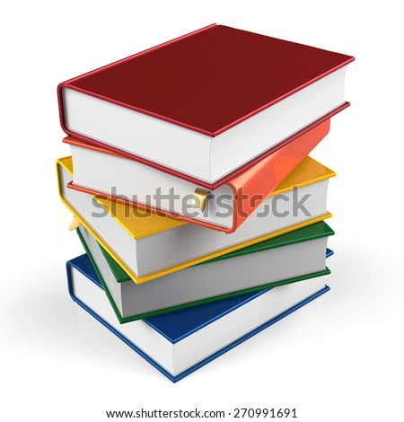 Book stack of textbooks blank hard covers colorful  books bookmark. School studying information content learn icon concept. 3d render isolated on white background - stock photo
