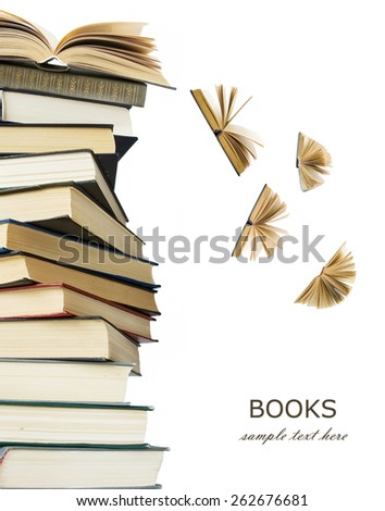 Book stack with open books flying away isolated on white background. Education concept - stock photo