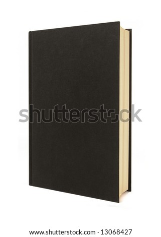 Book standing upright : plain black hardback book standing upright isolated on a white background.  Space for copy.  Vertical format. - stock photo