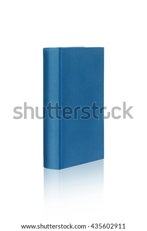 Book template on white background with reflection. Isolated with clipping paths. Focus on front part of the book. - stock photo