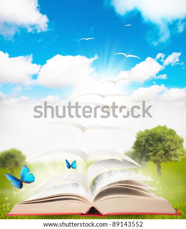 book that turns into a bird - stock photo