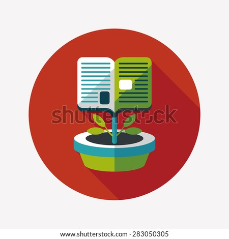 book tree flat icon with long shadow - stock photo