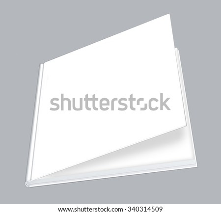 Book, white blank book with hard ajar cover - stock photo