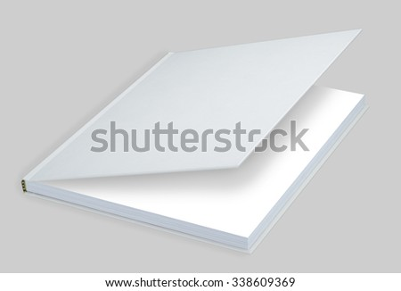 Book, white blank book with hard cover - stock photo