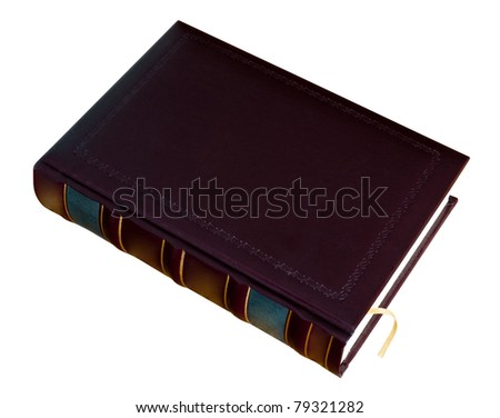 Book with a bookmark in leather blank cover with stamped isolated on white. Clipping Path included. - stock photo