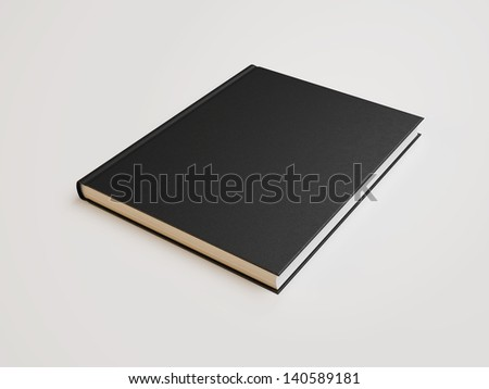 book with black blank cover - stock photo