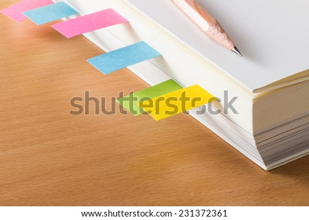 book with bookmarks  - stock photo