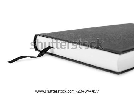 Book with bookmarks made of black cloth. - stock photo