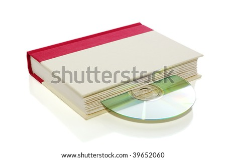 Book with CD/DVD isolated on white with clipping path, e-book concept - stock photo