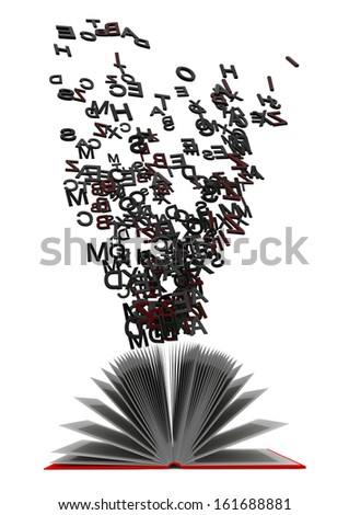 book with flying letters - stock photo