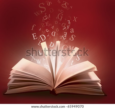 book with letter - stock photo