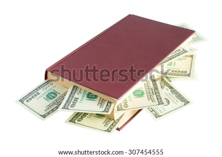 book with money on white background - stock photo