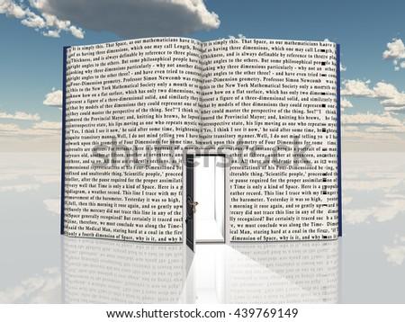 Book with open door 3D Render - stock photo