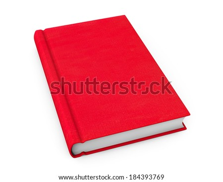 Book with red blank cover on a white background - stock photo