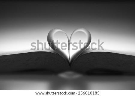Book with the love shape in mood lighting - stock photo