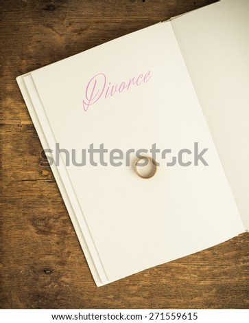 Book with title Divorce and blank white page. One wedding ring on top. Empty space for copy. Conceptual image of divorce. - stock photo
