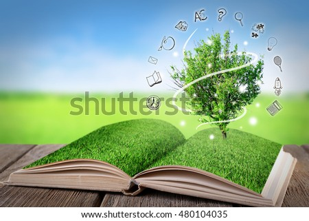 Book with tree on wooden table. Icons on blurred landscape background.