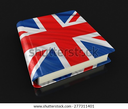 Book with UK flag - stock photo