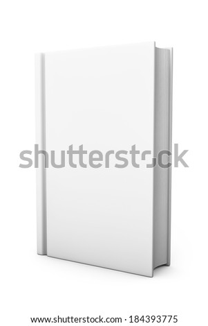 Book with white blank cover on a white background