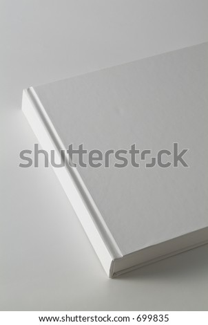 Book with white pages on white background.