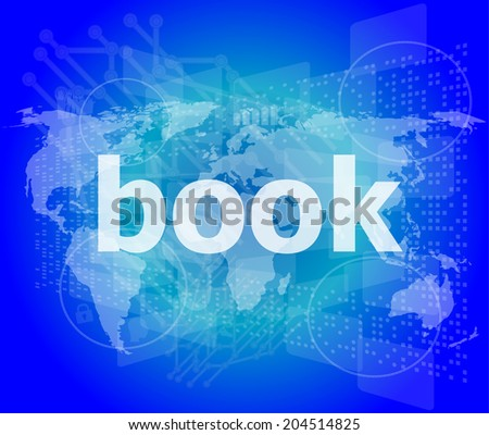 book word on digital touch screen - stock photo