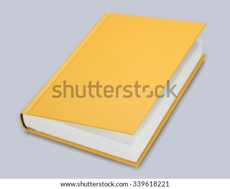 Book, yellow blank book with hard, ajar cover - stock photo