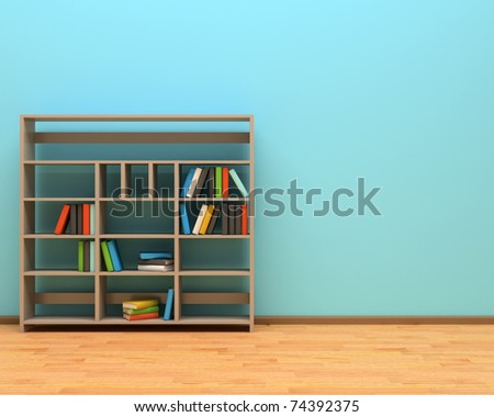 bookcase against the blue wall