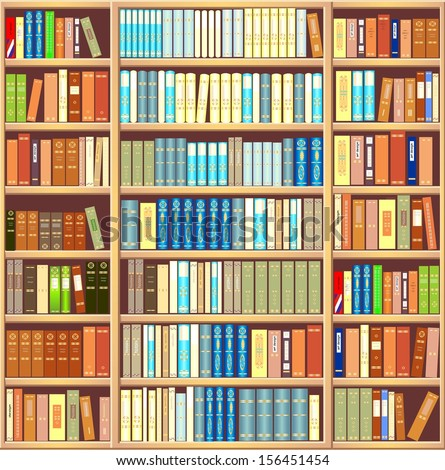 Bookcase Full Different Colorful Books Stock Illustration