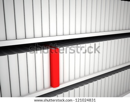 Bookcase with white books and one red