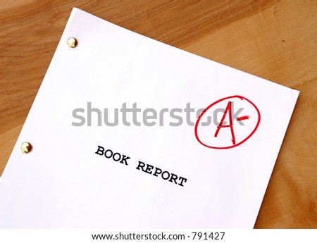 Booke Report with an A- grade - stock photo