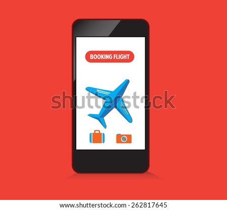 booking flight on smartphone - stock photo