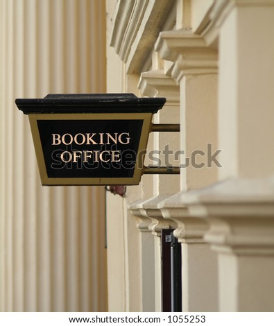 Booking office sign - stock photo